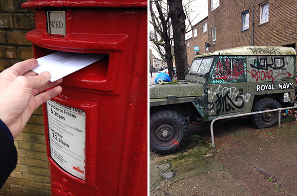 Posting secret postcards and an old Navy Land rover