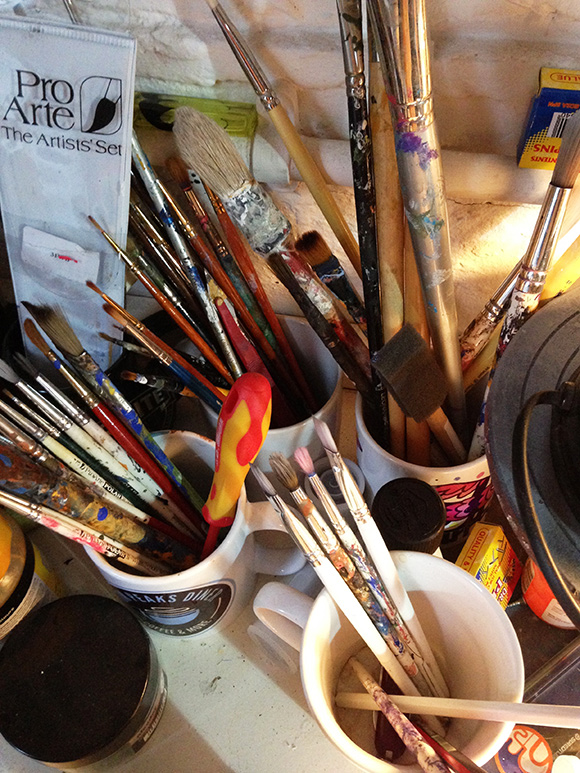Pete Fowler's paint brushes