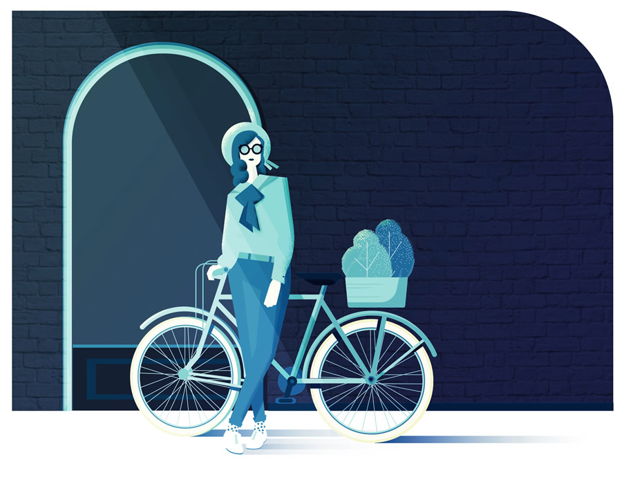 Maite-Franchi-Folio-Art-Illustration-Editorial-bike-woman-L