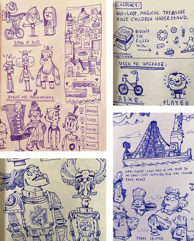 Rex Crowle Knights and Bikes sketches