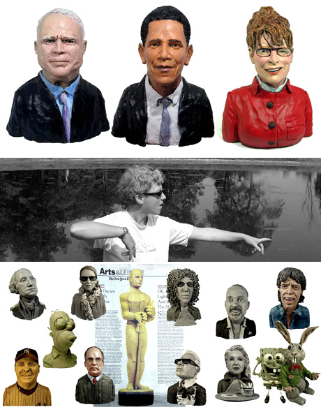 Obama and McCain scultures
